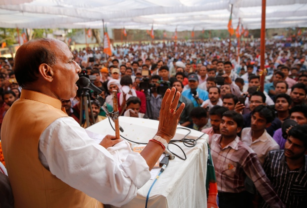 President Rajnath Singh addresses supporters