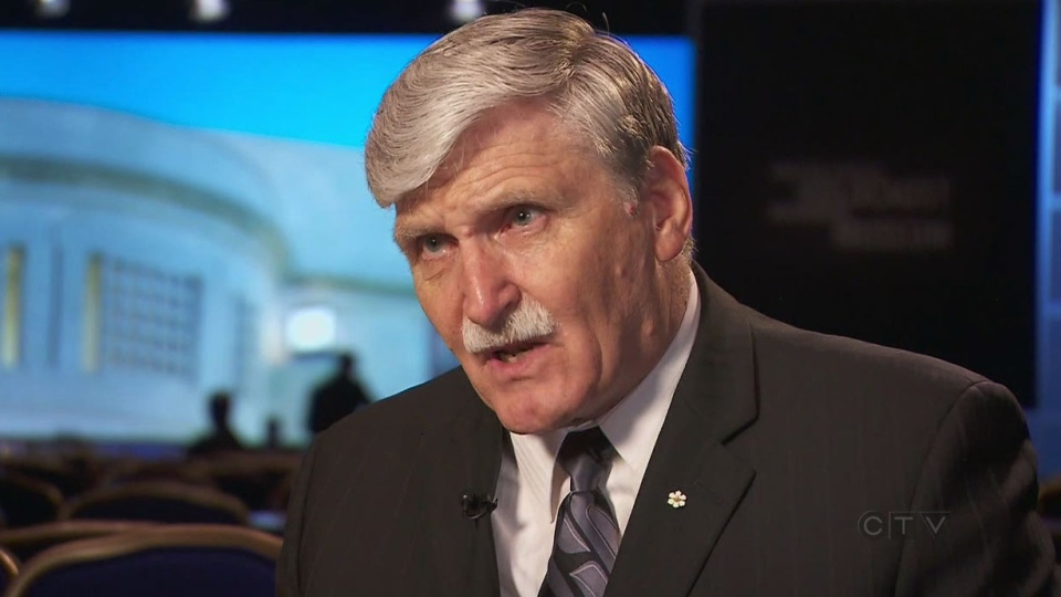Romeo Dallaire speaks with CTV National News in Washington, Wednesday, April 30, 2014.