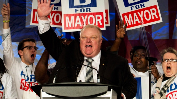 Toronto Mayor Rob Ford at his campaign launch