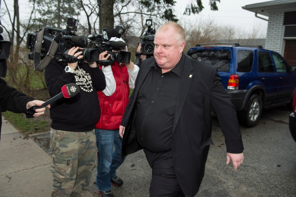 Toronto Mayor Rob Ford leave his home early Thursday May 1, 2014. (Frank Gunn / THE CANADIAN PRESS)