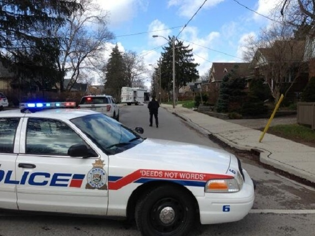 A London police car blocks a section of Emery Street, as a officials examine a suspicious package on Thursday, May 1, 2014. (Nick Paparella/ CTV London)