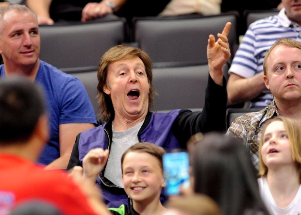 Paul McCartney at Lakers-Clippers game