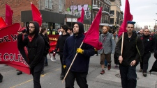 Protesters march in Montreal