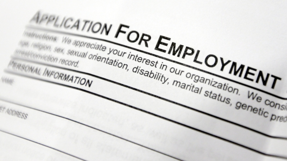 This April 22, 2014 photo shows an employment application form sits on a table during a job fair at Columbia-Greene Community College in Hudson, N.Y. (AP / Mike Groll)