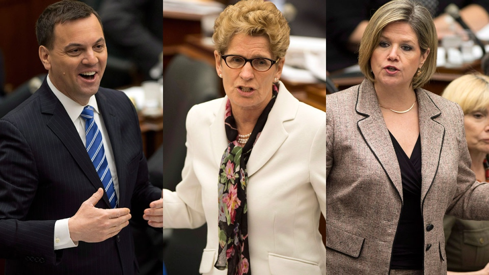 Ontario PC Leader Tim Hudak, left to right, Ontario Liberal Leader Kathleen Wynne and Ontario NDP Leader Andrea Horwath are shown in this combination photo. (Frank Gunn / THE CANADIAN PRESS)