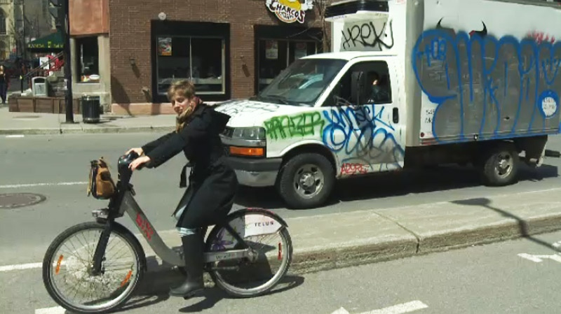 The rubber hit the road for Bixi Friday. (CTV Montreal May 2, 2014)