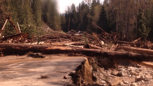 Shuswap River log jam causes flooding, downs power lines