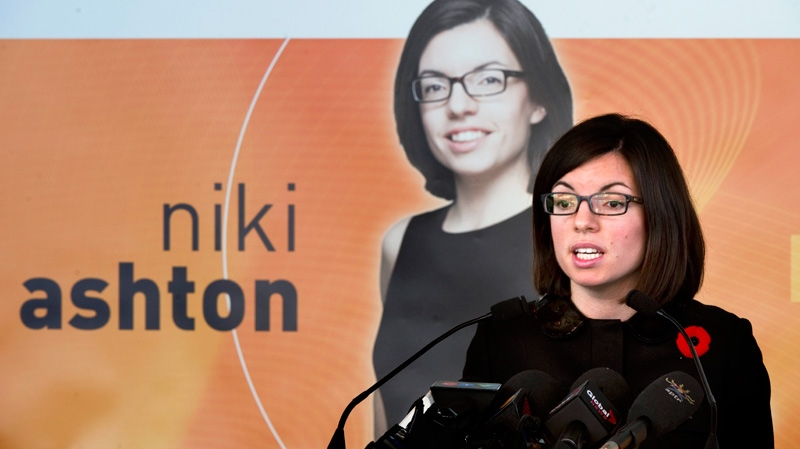 NDP MP Niki Ashton announces her candidacy for the party's leadership in Montreal, Monday, Nov. 7, 2011. (Paul Chiasson / THE CANADIAN PRESS)