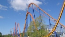 This undated photo released by Canada's Wonderland shows the Behemoth roller coaster in Vaughan, Ontario. (AP Photo/Canada's Wonderland