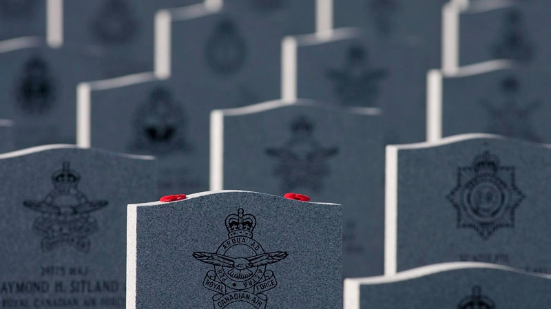 Poppies rest on a grave at the National Military Cemetery in Beechwood Cemetery on Remembrance Day in Ottawa on Wednesday, Nov. 11, 2009. (Pawel Dwulit / THE CANADIAN PRESS)