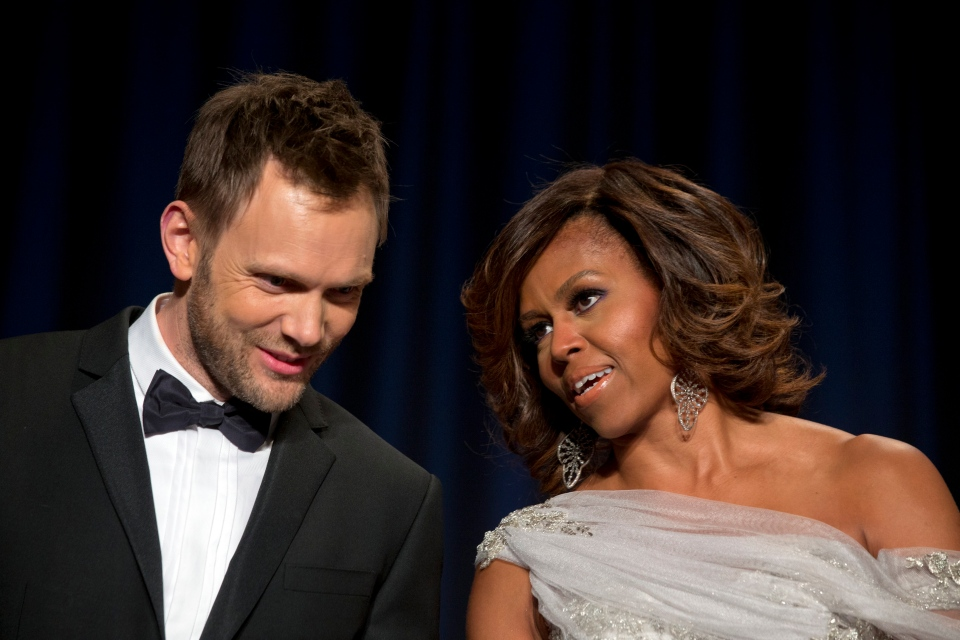 Actor and comedian Joel McHale, star of the TV series Community, speaks with first lady Michelle Obama during the White House Correspondents' Association (WHCA) Dinner at the Washington Hilton Hotel, Saturday, May 3, 2014. (AP / Jacquelyn Martin)