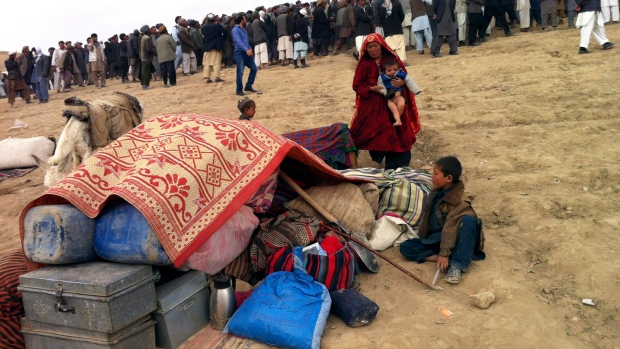 Afghan survivors of landslide