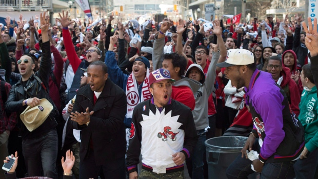 Toronto Raptors fans in Maple Leaf Square