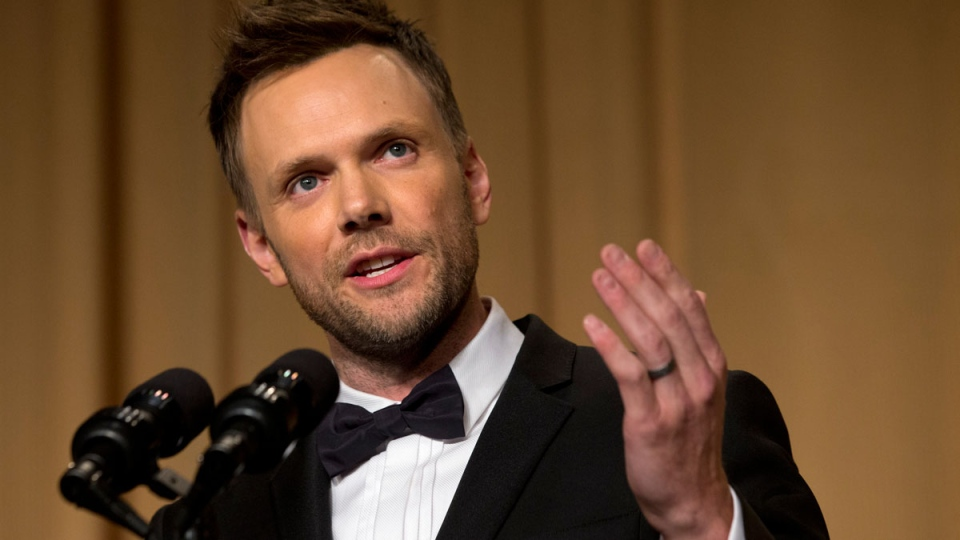 Actor and comedian Joel McHale makes jokes at the centennial dinner of the White House Correspondents' Association (WHCA) at the Washington Hilton Hotel in Washington on Saturday, May 3, 2014. (AP / Jacquelyn Martin)
