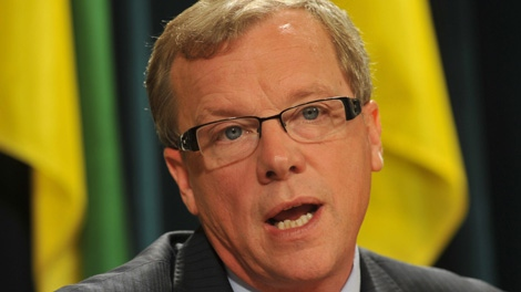 Saskatchewan premier-elect Brad Wall addresses a news conference in Regina, Tuesday, Nov.8, 2011, one day after winning a majority in the provincial election. (THE CANADIAN PRESS/Roy Antal)