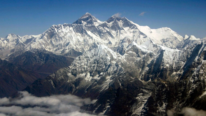 Mount Everest from an aerial view taken over Nepal, Oct. 21, 2005.  (AP / Jody Kurash)