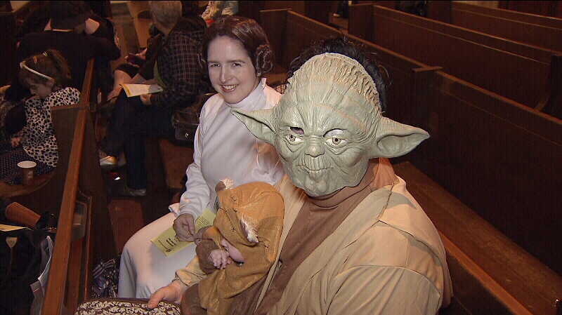 Fans of Star Wars dressed up as Princess Leia, Yoda and more for an official May the 4th Star Wars Day event at St. Andrew's-Wesley United Church in Vancouver. May 4, 2014. (CTV)