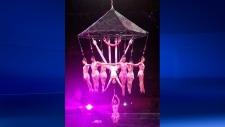 Circus aerial hair-hanging stunt