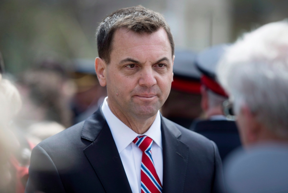 Ontario PC Leader Tim Hudak attends the Ontario Police Memorial Foundation's Ceremony of Remembrance at Queen's Park in Toronto, Sunday, May 4, 2014. (Darren Calabrese / THE CANADIAN PRESS)