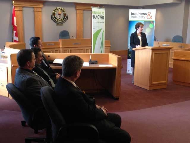 The team behind midwestern Ontario's first medical marijuana facility listen to a speaker in Hanover, Ont. on Monday, May 5, 2014. (Scott Miller / CTV London)
