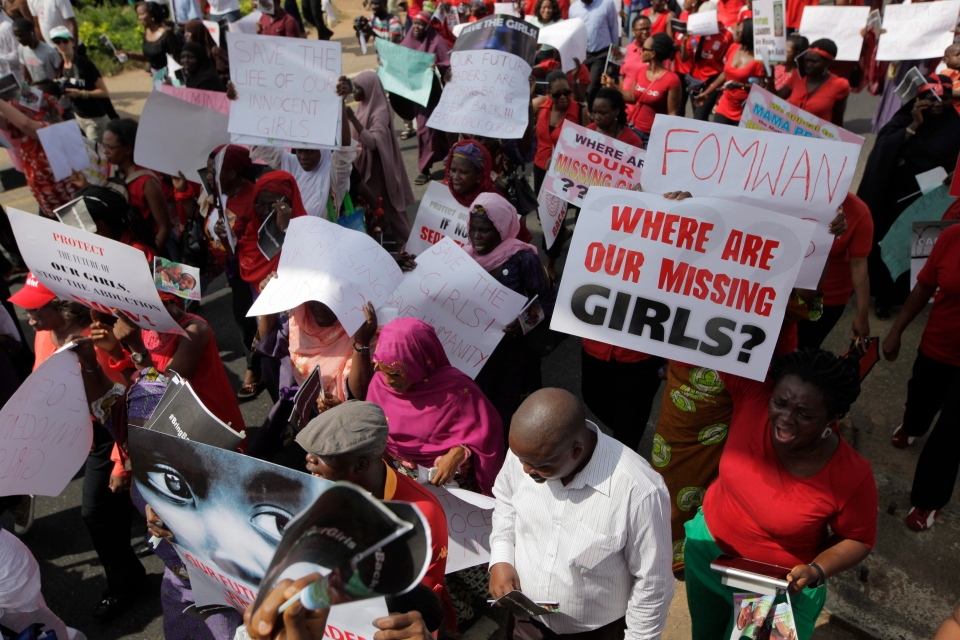 Women attend a mass-demonstration calling on the government to increase efforts to rescue the hundreds of missing kidnapped school girls of a government secondary school Chibok, in Lagos, Nigeria, Monday, May 5, 2014. (AP / Sunday Alamba)