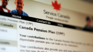 Information regarding the Canadian Pension Plan is displayed on the Service Canada website in Ottawa on Tuesday, January 31, 2012.  (Sean Kilpatrick / THE CANADIAN PRESS)