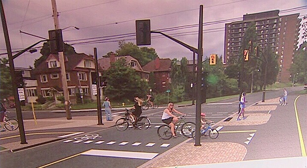 This is a rendering of the proposed crossing at the corner of Queen Elizabeth Driveway and Fifth Avenue.