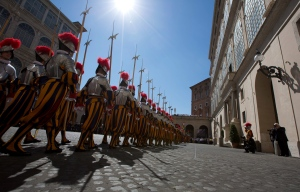 Vatican Swiss guards march prior to a swearing-in ceremony, at the Vatican on Tuesday, May 6, 2014. (AP / Alessandra Tarantino)