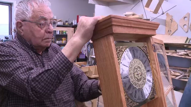 John L. Haley, a retired maintenance supervisor, figures he has made about 150 clocks since retiring 32 years ago. (CTV Atlantic)