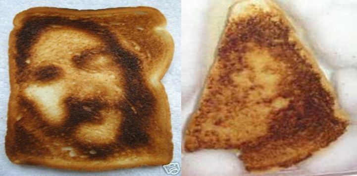 Do you see Jesus on these pieces of toast? New study says that most people will. (Photos provided by Kang Lee)