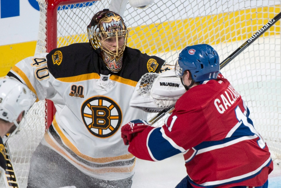 Boston Bruins goalie Tuukka Rask fends off Montreal Canadiens' Brendan Gallagher during second period NHL playoff hockey action Tuesday, May 6, 2014 in Montreal. (Paul Chiasson / THE CANADIAN PRESS)