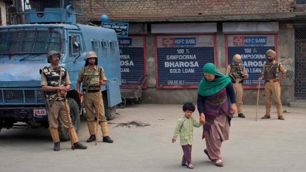 Security presence in Srinagar, India