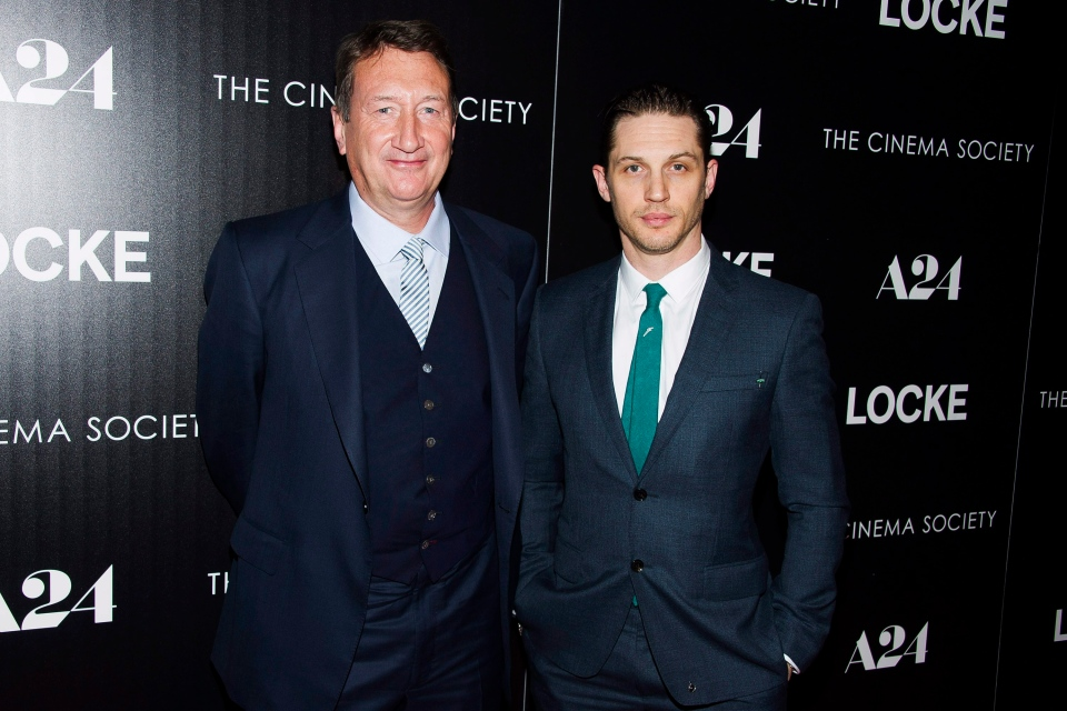 "Director Steven Knight, left, and Tom Hardy attend the premiere of ""Locke"" hosted by A24 and The Cinema Society on Tuesday, April 22, 2014, in New York. (Photo by Charles Sykes/Invision/AP)"