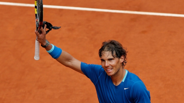 Rafael Nadal celebrates at the Madrid Open