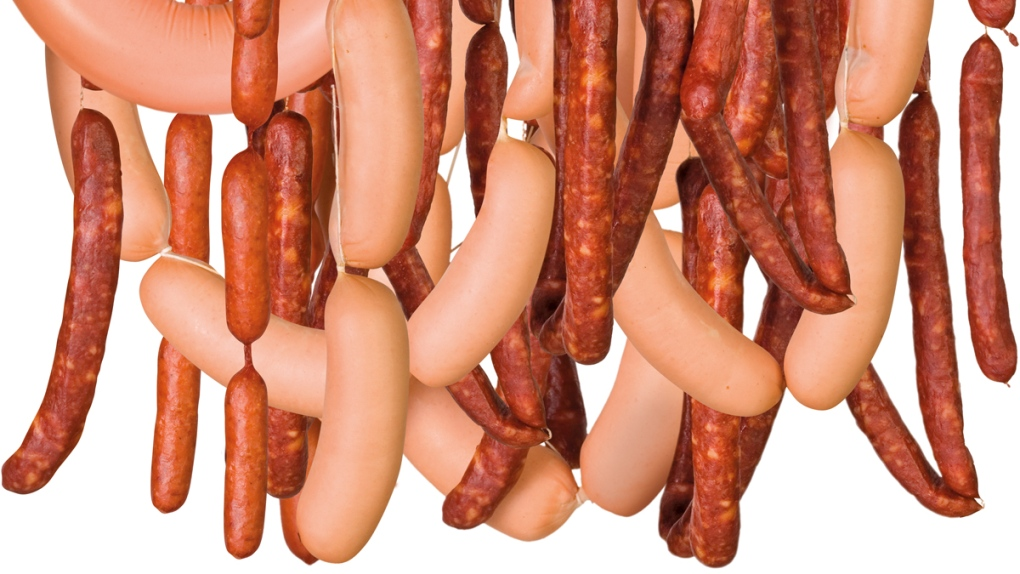 A bunch of hanging sausages