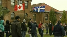 Students from several schools attend a ceremony honouring veterans in Ste. Anne de Bellevue (Nov. 10, 2011)