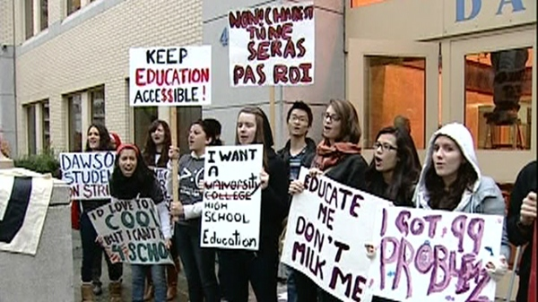 Students protested outside of Dawson College Thursday morning before joining a rally in the heart of Montreal (Nov. 10, 2011)