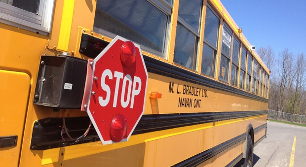 This M.L. Bradley school bus is equipped with two cameras to catch drivers who fail when stop when its lights are flashing. (Photo: Tyler Fleming/CTV Ottawa)