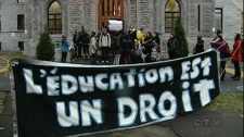 Thousands of students in Quebec are opposed to tuition fee hikes of $325 per year until 2016. (Nov. 10, 2011)