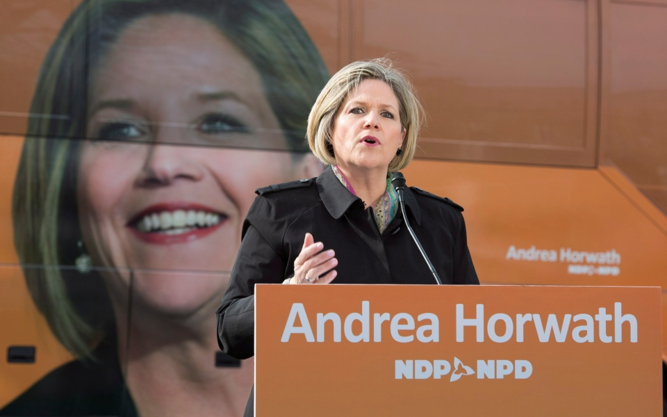 Andrea Horwath speaks at a campaign stop in Toronto on Wednesday May 7, 2014. THE CANADIAN PRESS/Frank Gunn