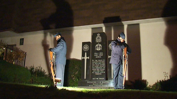 Young Cadets stand guard outside a Royal Canadian Legion in Toronto on Friday, Nov. 11, 2011.