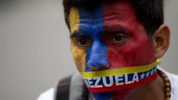 Protester in Caracas, Venezuela