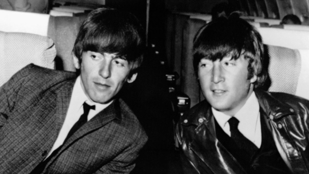 George Harrison and John Lennon of the Beatles