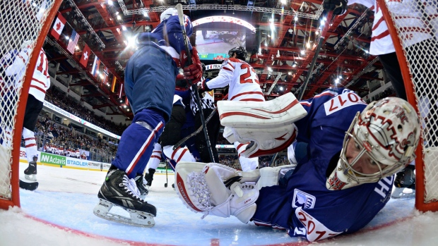 France goalie Cristobal Huet beats Canada at WHC