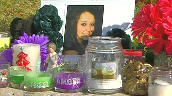 A memorial dedicated to Amber Kirwan is seen in Stellarton, N.S., Nov. 12, 2011.