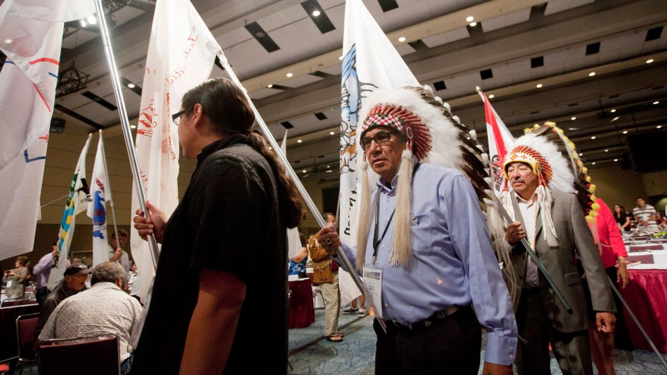 The Assembly of First Nations Annual General Assembly comes to an end as attendees are sent off by the drums in Toronto on Thursday, July 19, 2012. (Michelle Siu / THE CANADIAN PRESS)