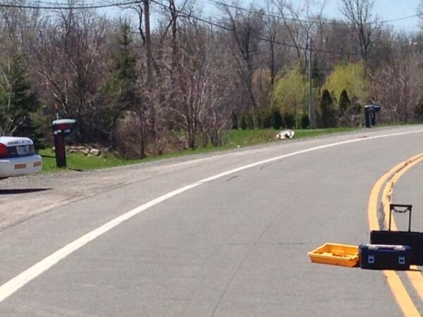 A cyclist was killed Sunday along this stretch of road near Oka. (photo: Stephane Giroux / CTV Montreal)