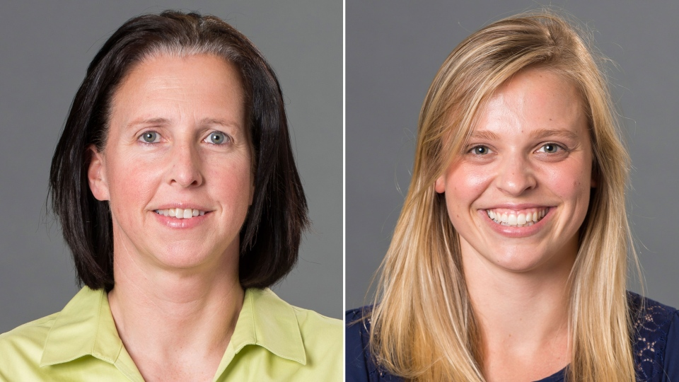 This combination made with photos provided by the University of Richmond shows associate head coach Ginny Doyle, left, and director of basketball operations Natalie Lewis. Doyle and Lewis were two of the three people aboard a hot air balloon that drifted into a power line, burst into flames and crashed on Friday, May 9, 2014. (University of Richmond / Frank Strauss)