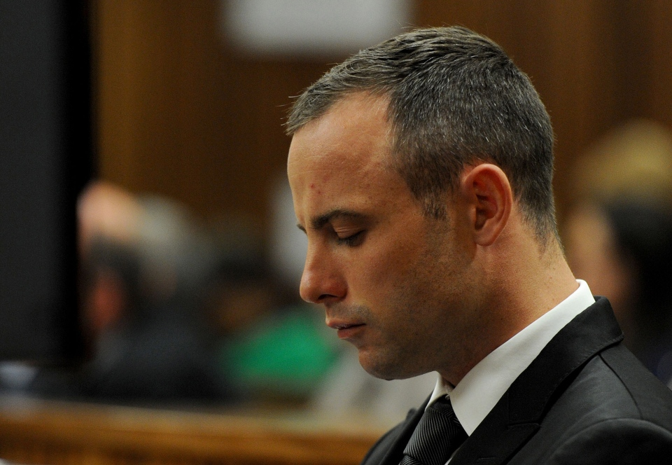 Oscar Pistorius in court for his ongoing murder trial in Pretoria, South Africa, Monday, May 12, 2014. (AP / Chris Collingridge)