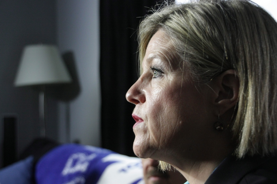 Ontario NDP Leader Andrea Horwath is seen in Thunder Bay, Ont., on Monday, May 12, 2014. (Colin Perkel / THE CANADIAN PRESS)
